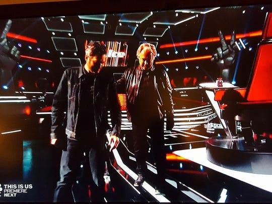 "Blake Shelton, left, with Mt. Juliet's Dan Shafer. Shelton picked Shafer for his team on ""The Voice."""