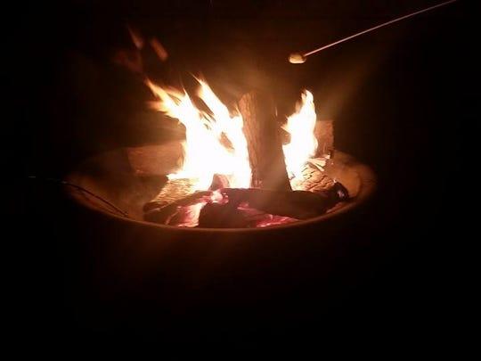 A bonfire at Lindsay and Palmer Attaway's Friendsgiving