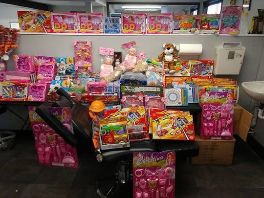 Toys for Tots donations at Body Language Tattoo.