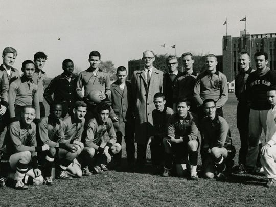 St. Peter's graduate Joe Echelle, with ball, founded, captained and coached the Notre Dame men's soccer team, pictured here in 1961.