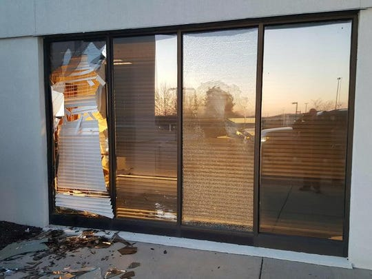 This window was broken in an alleged rampage at Tennova Healthcare - Lebanon on Jan. 30, 2017.