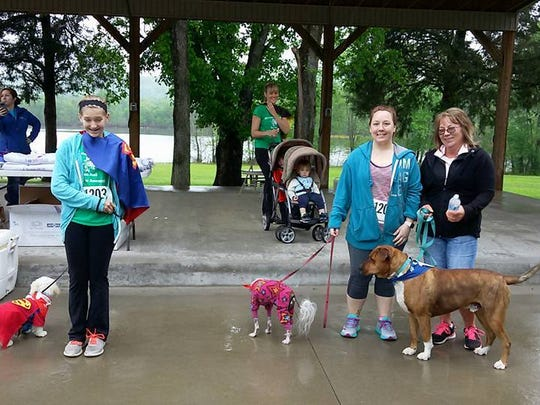 Three people walked with their pets in the Stewart County Bark for Life event on April 22, 2017. Nearly $2,000 was raised to donate to the American Cancer Society from this event, which was the County's first year doing it.