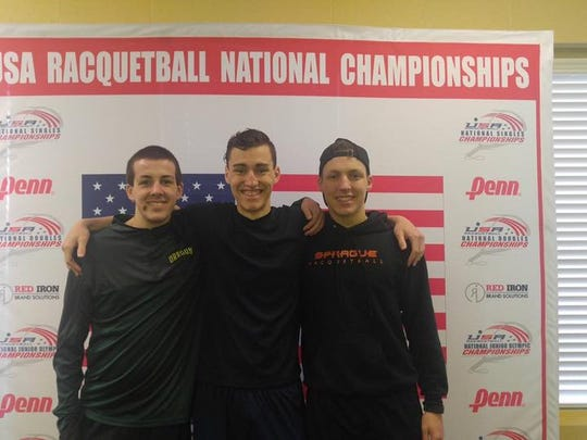 Josh Nelson (center) with Sprague teammates Nate Buring (left) and Hayden Bridgeman at the 2017 USA National High School Racquetball Championships in St. Louis.