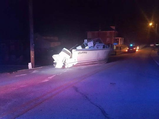 Someone left a boat on a road in Windsor borough, and police are working to find out why.