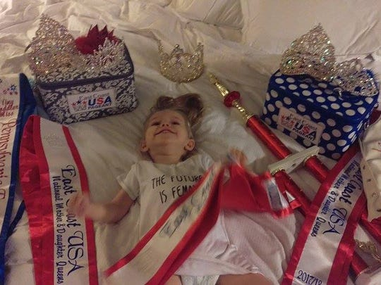 2-year-old Ruby Hoffman, of West Manchester Township, won over the judges during the National Finals of the East Coast USA Pageant with her story of her fight against a rare brain disease. She was crowned Miss Spirit and Future Queen. She and her mom also won Mother-Daughter Queens.