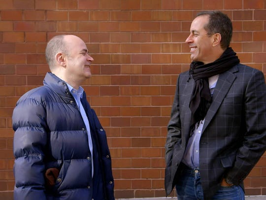 Todd Barry (left) and Jerry Seinfeld in an episode