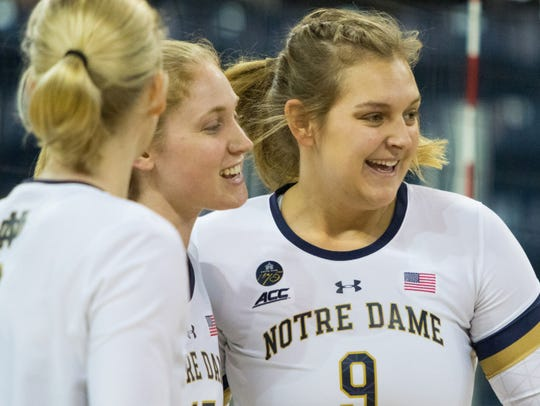 Castle graduate Rebecca Nunge (right) was a co-captain of the Notre Dame volleyball team.
