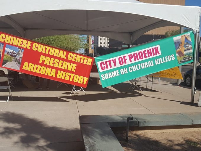 Chinese Culture Center protest in Phoenix on Oct. 4,