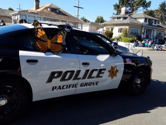 Pacific Grove police cars were adorned with butterflies.