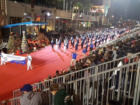 chs band performs in hollywood christmas parade