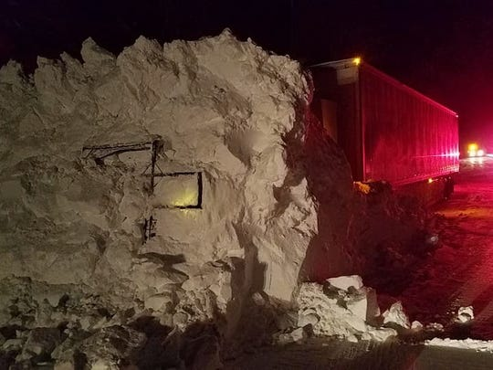 A semi truck west of Lincoln was stopped on Highway 200 by an avalanche Friday nights.