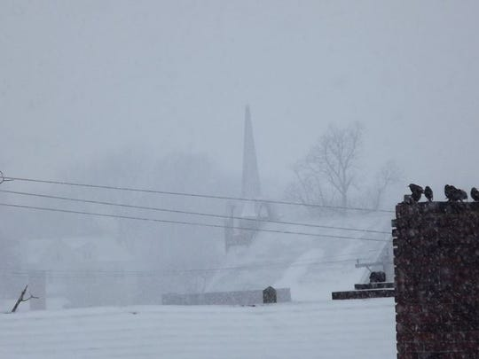 """Sitting Around the Fire on A Cold and Snowy Day""(1/15/2018 - 9:21 a.m.) Church in background is Morganfield Presbyterian Church."
