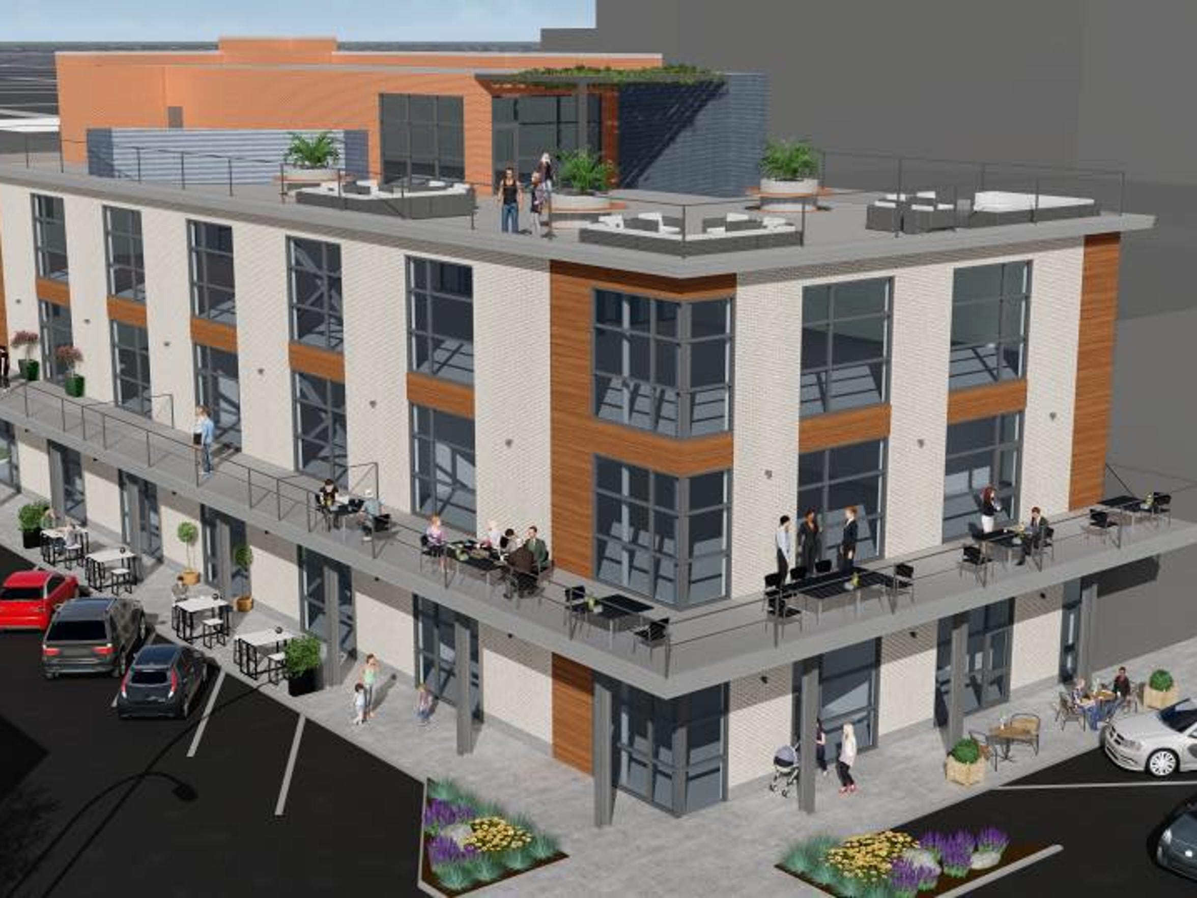 An artist rendering shows what Grain Theory Brewing Co. could look like when finished, including a proposed second deck, new windows and rooftop space for the building at 202 Pine St.