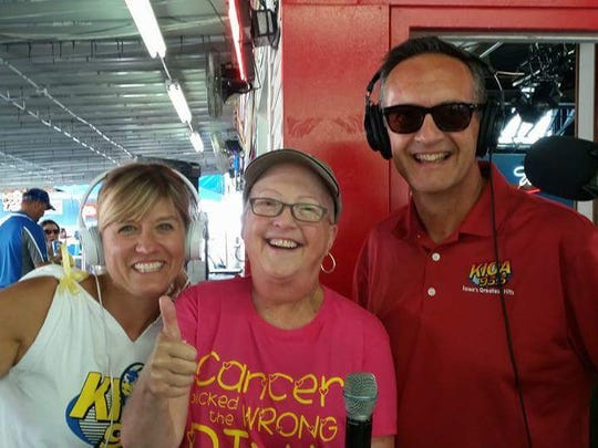 Amy Sweet (left), Pam Dixon and MAxwell Schaeffer broadst from the Iowa State Fair.