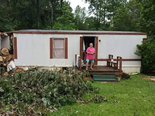 Kathy Hendricks Green at her trailer near Pickens that