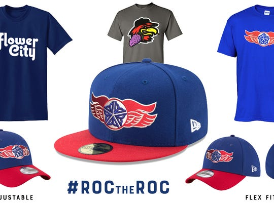 """Some of the swag on sale for Red Wings """"ROC the ROC'' night on Aug. 8, celebrating all things Rochester."""