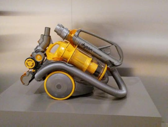 A Dyson vacuum is on display at the Newfields Design