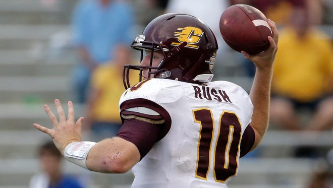 Central Michigan quarterback Cooper Rush throws Sept. 20, 2014, in Lawrence, Kan.