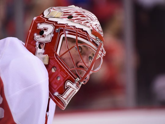 Red Wings goaltender Jared Coreau warms up in Vancouver,
