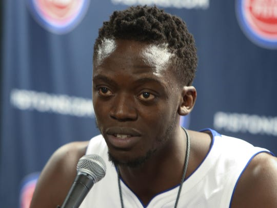 Pistons' Reggie Jackson talks with reporters at media day Sept. 25, 2017 at the Palace in Auburn Hills.