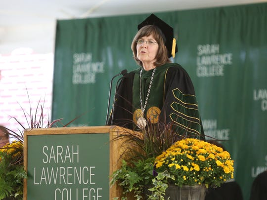 Cristle Collins Judd takes over as president during her inauguration ceremony at Sarah Lawrence College in Yonkers on Friday, October 6, 2017.