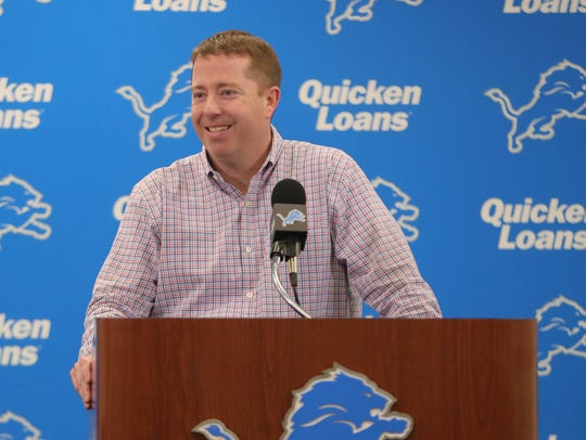 Detroit Lions GM Bob Quinn talks with reporters about