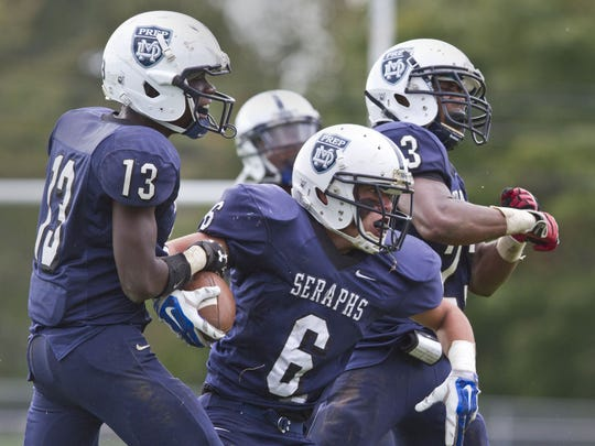 Mater Dei celebrates a play during a game against Shore Regional on Oct. 18.