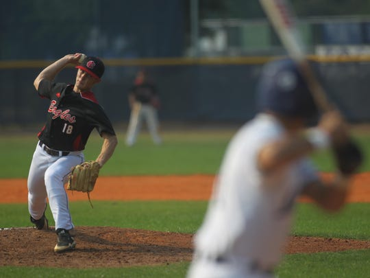 NFC sophomore J.D. Tease pitches Tuesday during an 8-4 win at Maclay.