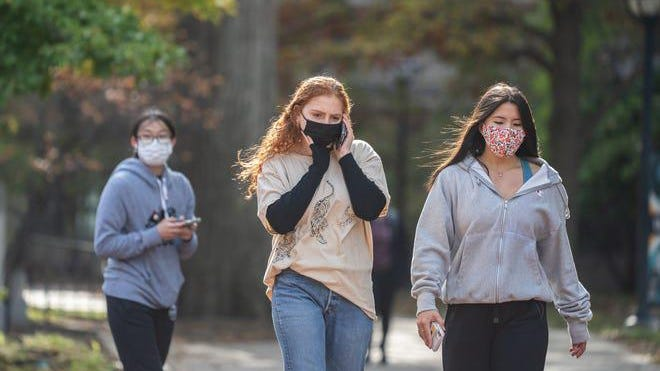 "University of Michigan students in Ann Arbor were given a ""stay in place"" order on Oct. 20, 2020, as the number of coronavirus cases on campus spiked."