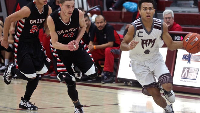 The Rancho Mirage Rattlers hosted the Grants Pirates in the Design Pro Division championship game of the MaxPreps Holiday Classic on Wednesday, Dec. 30, 2015. The Rattlers defeated the Pirates by a score of 74-64.