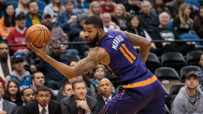 Jan 17, 201: Suns forward Markieff Morris (11) catches a pass in the first quarter against the Minnesota Timberwolves at Target Center.