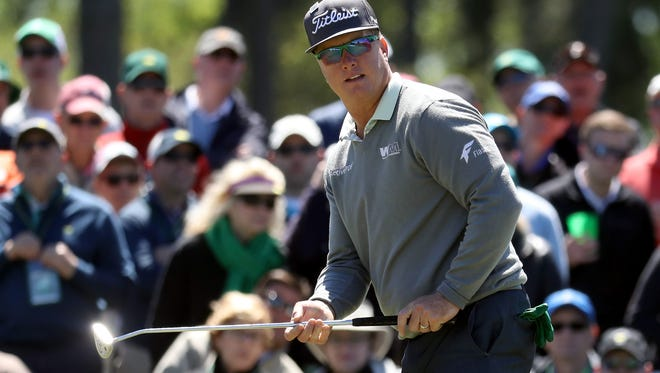 Charley Hoffman of the United States reacts to his putt on the ninth hole during the second round of the 2017 Masters Tournament at Augusta National Golf Club on April 7, 2017 in Augusta, Georgia.