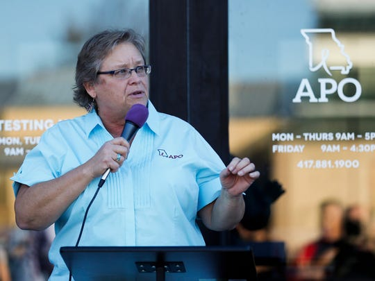 Lynne Meyerkord, executive director of Aids Project of the Ozarks, speaks at an open house and ribbon cutting of APO's new building at 1636 S. Glenstone Ave. on Thursday, Oct. 26, 2017.