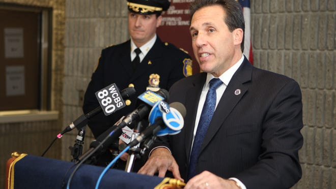 Yonkers Police Commissioner Charles Gardner talks about a police involved shooting at Redmond field in Yonkers, that injured a Pelham Police officer, Jan. 23, 2015.