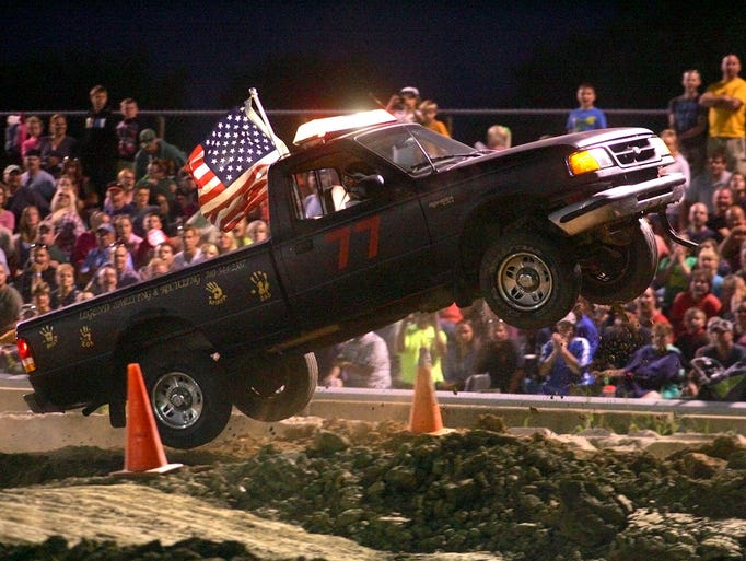Chris Dixon, of Newark, competes in the rough truck competition Friday at the Hartford Fair.