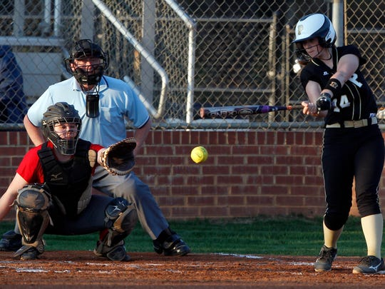 Pendleton's Harper Cobb (14) bats against Powdersville.