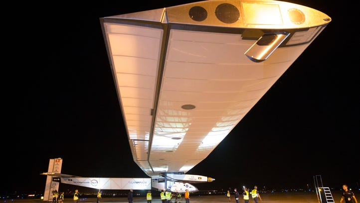 Solar Impulse, piloted by Andre Borschberg, is taxied