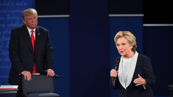 Donald Trump and Hillary Clinton at the Oct. 9, 2016, debate in St. Louis.