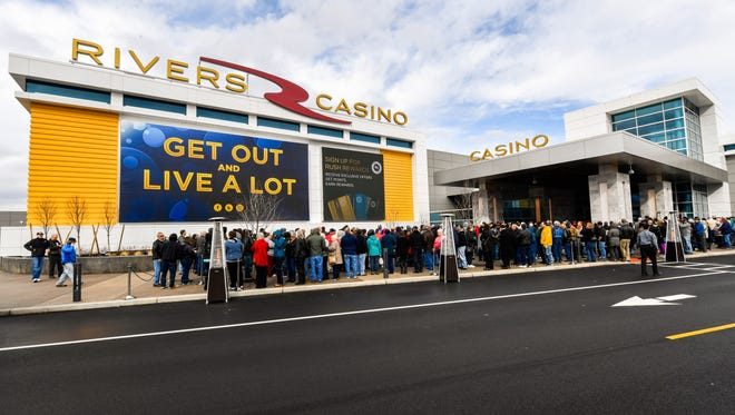 A photo from Gov. Andrew Cuomo's office shows people lining up for the opening Feb. 8, 2017, of the new Rivers Casino in Schenectady.