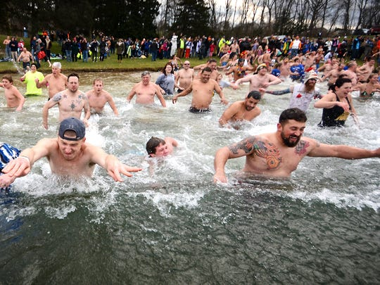 Almost 400 people plunged into the frigid water at Willow Springs Park in Jackson Township at noon Friday. The annual New Year's Day Cold for a Cause Polar Bear Plunge benefits the Developmental & Disability Services of Lebanon Valley.