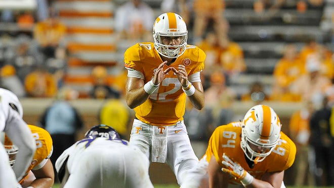 Tennessee backup quarterback Quinten Dormady (12)  could get plenty of snaps against North Texas.