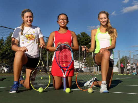 SPASH's top three singles players Emily Luetschwager (from left), Sabrina Tang and Kayla Stutesman form arguably the top 1-2-3 singles lineup in the state.