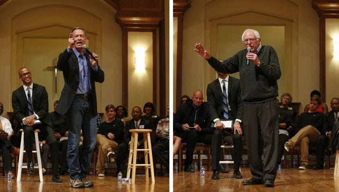 Democratic presidential candidates Martin O'Malley and Bernie Sanders address questions that were asked during the Putting Families First Forum at First Christian Church on Friday, Jan. 9, 2016, in Des Moines, Iowa.