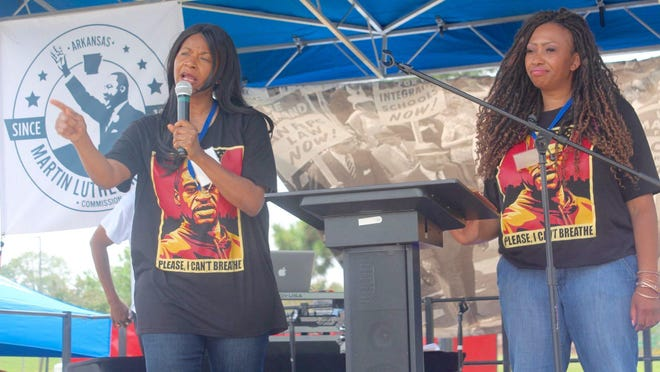 """The aunt of George Floyd, Angela Harrelson and cousin, Paris Stevens, speak at the """"Get Out To Vote"""" event in Little Rock over the weekend to encourage voting and change as a result to Floyd's death."""
