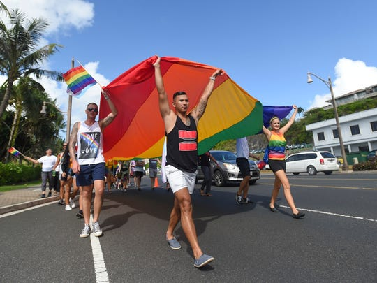 Hundreds of LGBTQ supporters joined Guam's second annual pride march in Tumon on June 2, 2018.