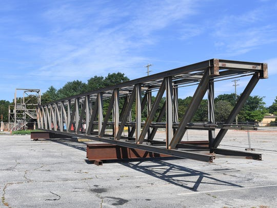 The pedestrian bridge that connects Bob Jones University