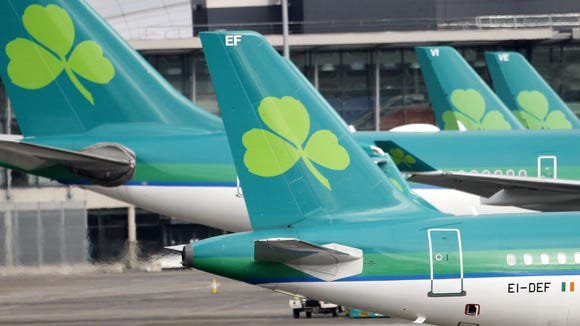 Aer Lingus planes at Dublin airport on Jan. 27, 2015.