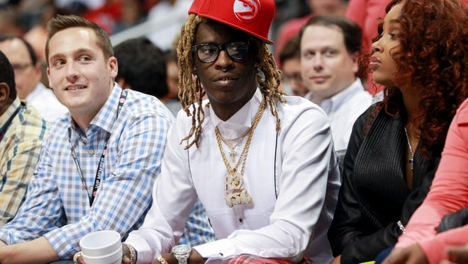 Rapper Young Thug at NBA playoff game in Atlanta.