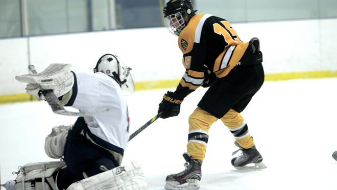 West Milford's Chris Dressler (15) is among the top scorers in North Jersey varsity ice hockey.
