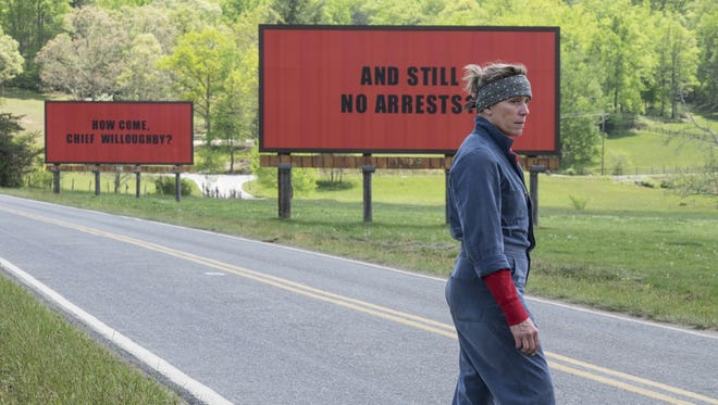 """Frances McDormand appears in a scene from ?Three Billboards Outside Ebbing, Missouri.?   Fox Searchlight via AP This image released by Fox Searchlight shows Frances McDormand in a scene from """"Three Billboards Outside Ebbing, Missouri."""" (Fox Searchlight via AP) ORG XMIT: NYET813"""